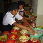 Kids preparing the desert