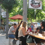 Outdoor dining at The Wurst, Healdsburg