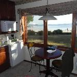 Kitchen area looking out to the beach