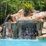 Waterfall with water slide