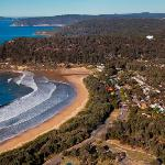 Aerial view of Ocean Beach Holiday Park and surrounds