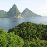 View from our room.  the two Pitons.