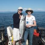 Mike, our guide and I with my 23 pound salmon