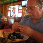 Husband eating DRUNKEN MUSSELS