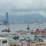 view of Victoria Harbour on a very misty morning