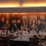 A painting on one side of the restaurant
