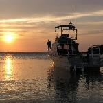 Native Sons dive boat, at sunset , off our beach.
