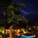 Lightning over the pool on a rainy season night