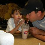 Sharing a Milkshake from the onsite Dairy Queen!