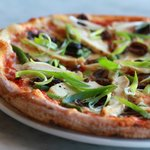The Sapore. A wood oven baked combination of grilled asparagus, chicken, sundried tomatoes, and