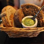 Yum herb butter and bread