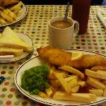 Set Meal - Cod & Chips with peas (mushy) + 2 white slices and a tea. About £8.45, iirc.