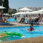 beachside paddling pool with main pool in background