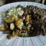 Steak with peppercorns, spaetzel, sauted veggies and potato roti