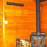 Woodstove in a Pine Cabin