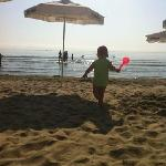 the sand is very smooth and the beach is shallow for a long way so is ideal for kids