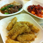 Beef noodle set, s&s pork, fried eggplant. YUM.
