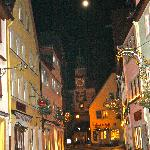 view of town at night