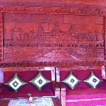At the lobby~ Very nice wood carving of Angkor Wat