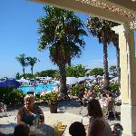 View from the bar towards the pool