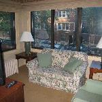 The den in Room #101, overlooking West Brompton Place