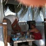 mustafa serves us in the cabana (Ste,jue,Han Evans)
