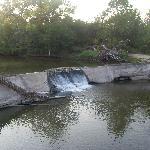 waterfall behind motel