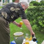 Jay serving mimosas for the parade