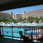 View from pool bar to hotel