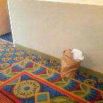Trash that another lovely guest left outside of my room that was not removed even after my reque