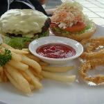 My burger at pool side