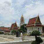 The temple grounds, the tower of Wat Yai in the center distance
