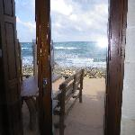 terrasse devant maison sur la plage