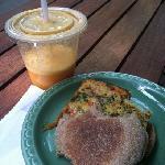 breakfast sandwich and citrus cooler