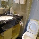 Toilet 2, no shower facility. However, there is a full length mirror on the right. Can change an