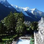 Vue de la chambre, sur le Mont-Blanc et la Piscine