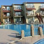 pool between bungalows