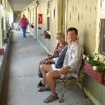 ...on the front porch of the VC Motel