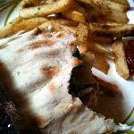 spicy chicken gyro w/spicy fries at baladie cafe.  it looks much better than it tastes