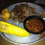 Just pork, beans, and cornbread. nothing else needed.