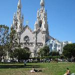 The beautiful Washington Square Park, across from the Inn, with Saints Peter and Paul Church in