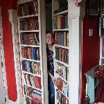 Secret bookcase door to breakfast room