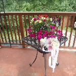 the bouqet and the some of the flowers on the deck