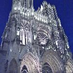 Start of the 'sound & light' show at Reims Cathedral