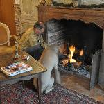 Owner & dog making the fire