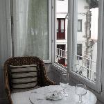 balcony shutters open -very pleasant to sit with glass of wine