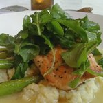 Salmon with asparagus and risotto