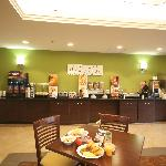 We have a Hot Morning Medley Breakfast every morning at the Sleep Inn & Suites Harbour Pointe
