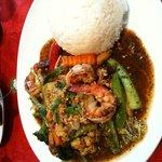 Shrimp is spicy sauce