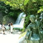 Main waterfall with Odoriko Statue